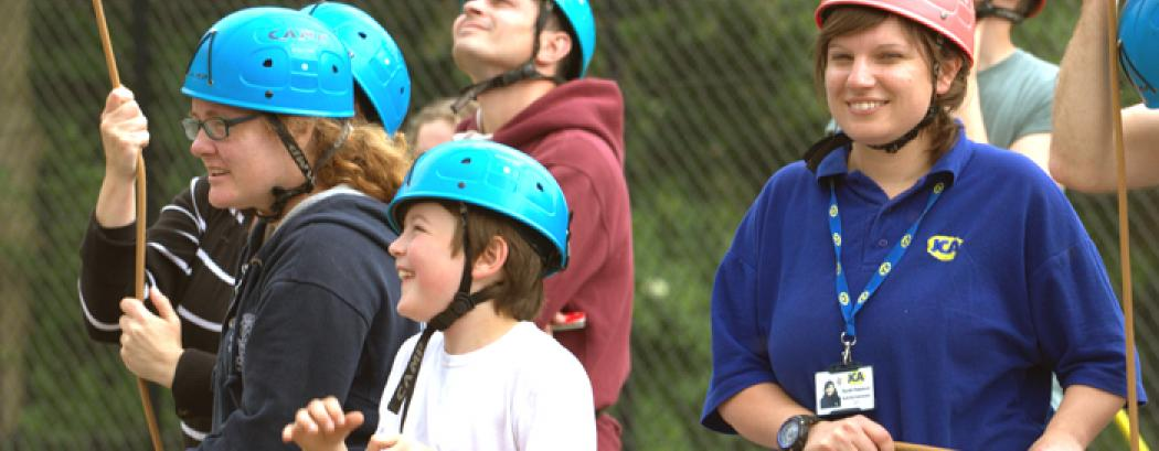 Family Adventure high ropes activities and instructor
