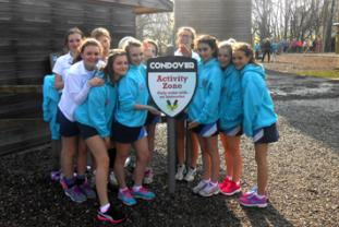 Netballers at Condover Hall's high ropes
