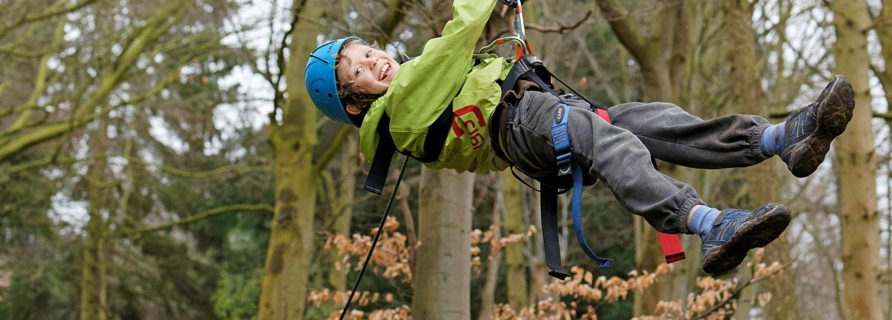 Child on a zip wire