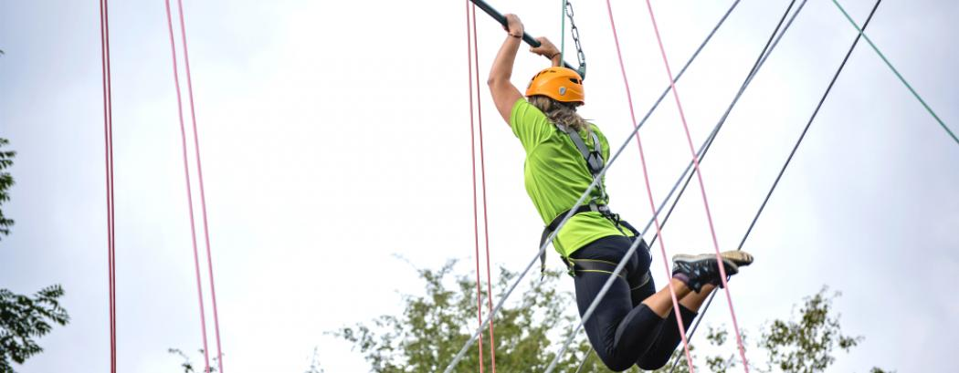 Girl on the high ropes at Mount Cook Activity Centre